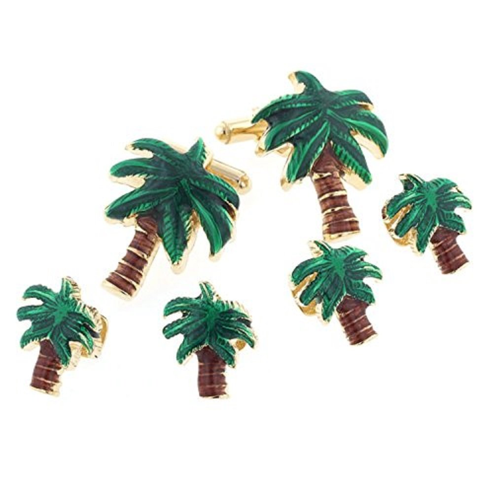 JJ Weston Palm Tree Tuxedo Cufflinks and Shirt Studs. Made in the USA RS-230-SG