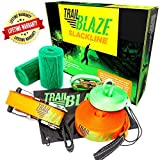 Slackline Kit With Training Line and Tree Protectors, 50-Ft Easy Set-Up Slack Line Set, Perfect Slacklines for Kids and Family Outdoor Fun; Slack Line Includes Everything You Need to Start Today
