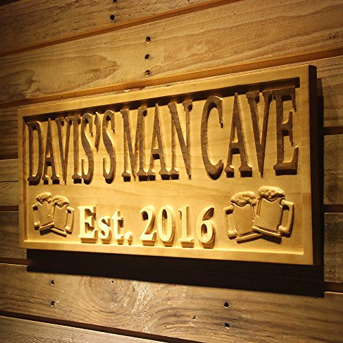 Cave Sign Man (ADVPRO wpa0098 Name Personalized Man CAVE with Established Date Beer Cups Mugs Man Cave 3D Engraved Wooden Sign - Standard 23