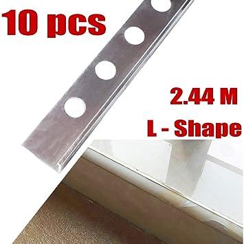 10 bordes de azulejos en forma de L para proteger azulejos, 2,44 m de largo x 8 mm de profundidad: Amazon.es: Bricolaje y herramientas