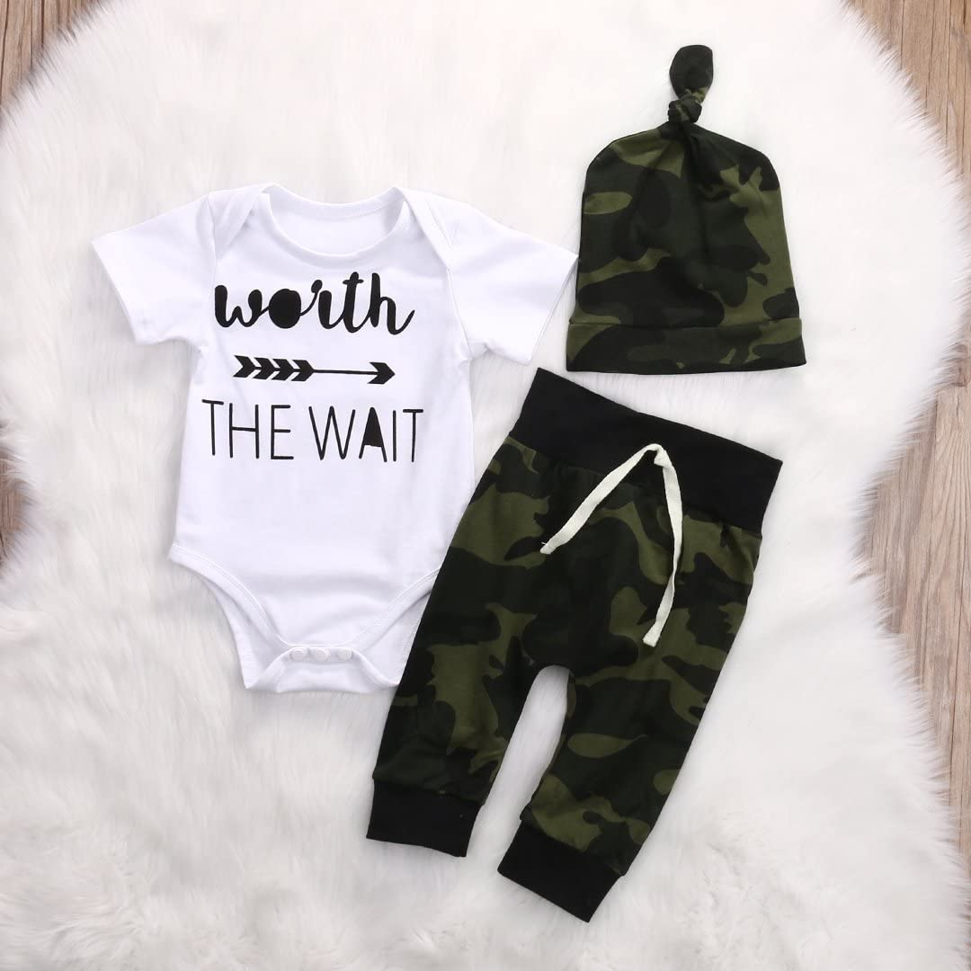 FUTERLY Newborn Baby Boy Clothes Lady I Have Arrived Print Romper Bodysuit Jumpsuit+Long Camouflage Pants+Hat 3PCS Outfits Set