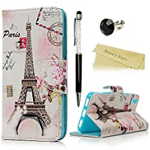 Huawei Y6 Scale Wallet Case - Mavis's Diary Premium PU Leather with Magnetic Clasp Card Holders Flip Cover for Huawei Y6 Scale with Diamond Dust Plug & Bling Crystal Pen (Eiffel Tower Pink Flowers)