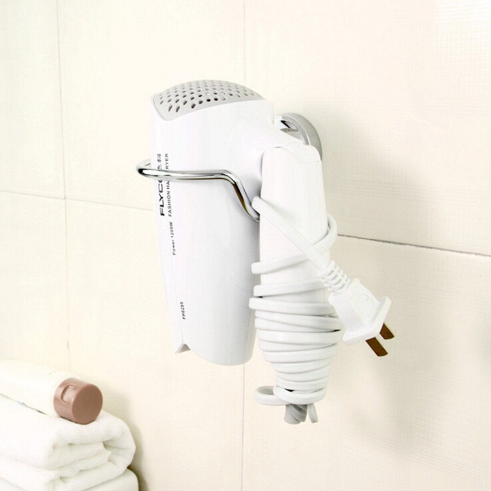 Yontree Stainless Steel Hair Blow Dryer Holder Rack Hair Drier Storage Organizer Wall Bathroom Accessories Set Mounted Spiral Silver