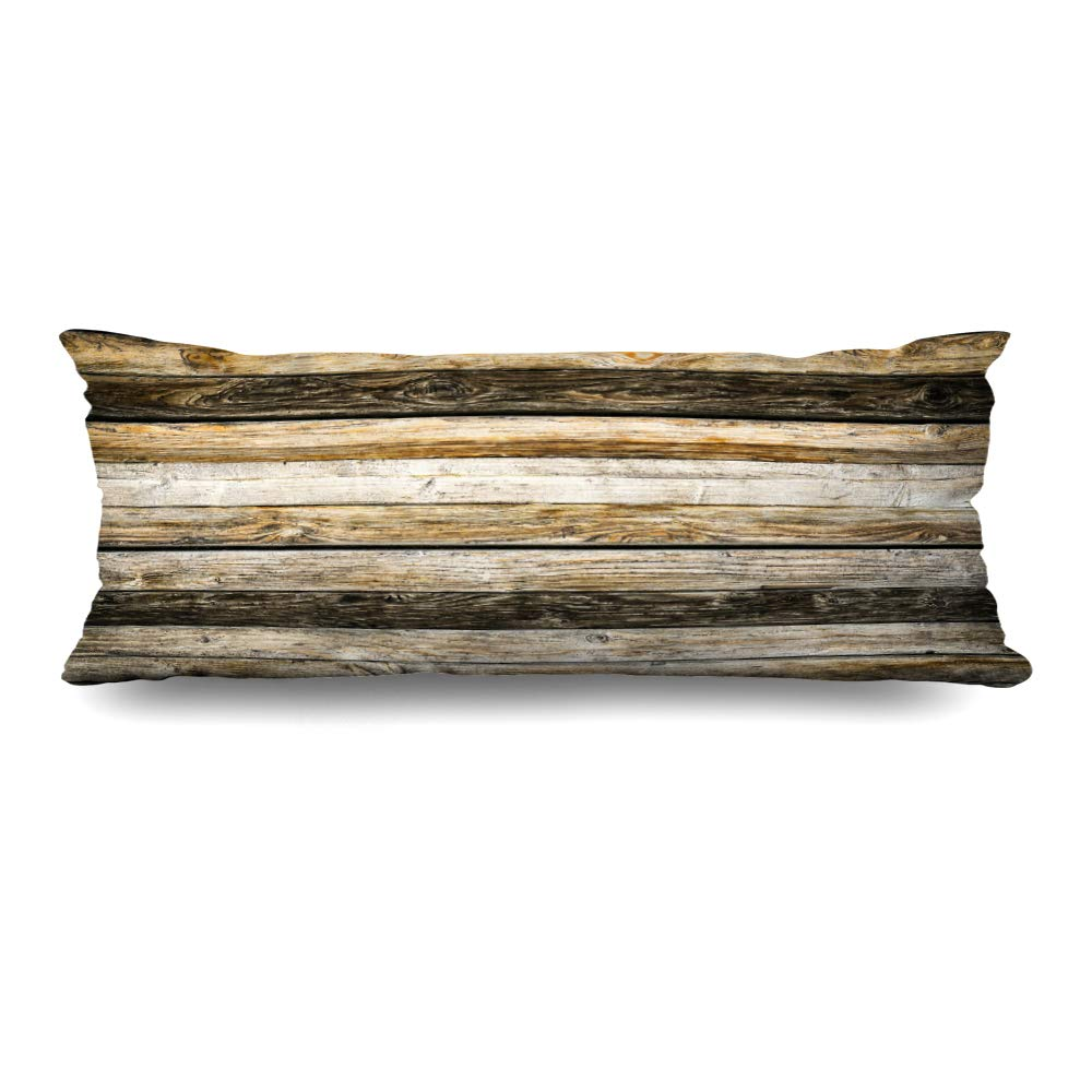 DIYCow Body Pillows Covers Grunge Old Natural Brown Table Barn Wood Wall Vignette Cushion Case Pillowcase Home Sofa Couch Rectangular Size 20 x 60 Inches Pillowslips
