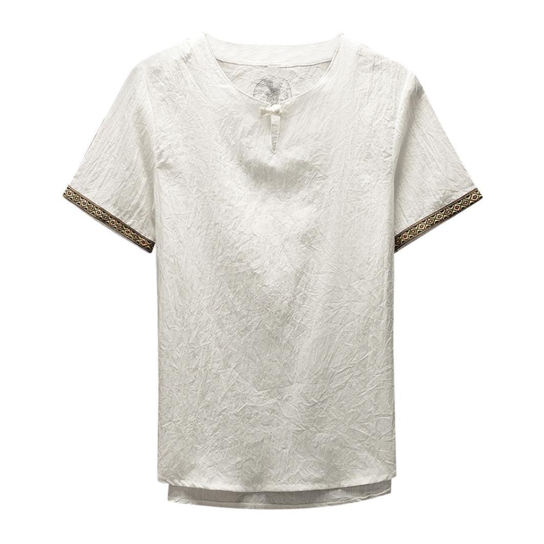 Amlaiworld Uomo Classico Stile Kung Fu Camicia Top Lino Camicetta Manica Corta Blusa Abbigliamento Uomo