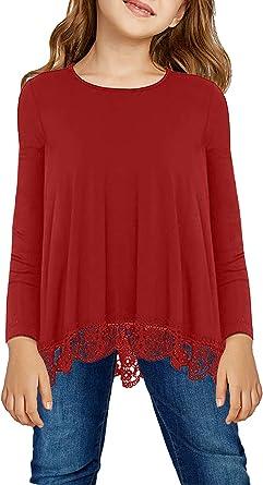 Acelitt Blusa Tipo túnica para niñas Informal, Suelta, Suave, para niños de 4 a 13 años de Edad - - X-Large (10-11 años): Amazon.es: Ropa y accesorios