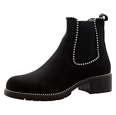 922f3986b6b2 Ladies Womens Block Chunky Heels Studded Chelsea Ankle Boots Office Shoes  Size 3-8 (