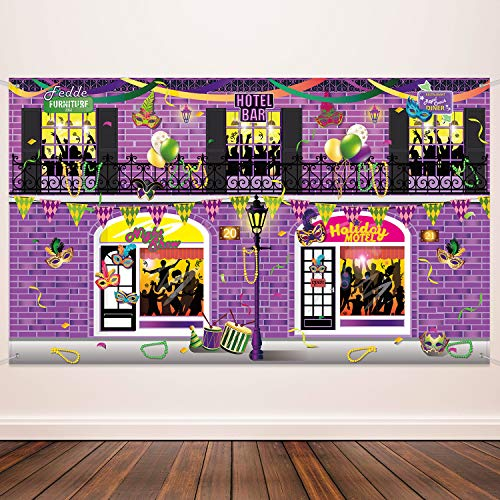 Mardi Gras Decorating (Carnival Decoration Banner Supplies Mardi Gras Photography Background for Mardi Gras Theme Party Birthday Party Carnival School Party Photo Shoot Backdrop Large Party)
