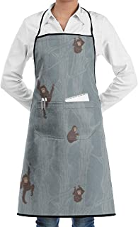 QIAOJIE Just Monkey Around Adjustable Apron with Pocket & Extra-Long Ties, Men and Women Kitchen Apron for Cooking, Baking, Crafting, Gardening, BBQ