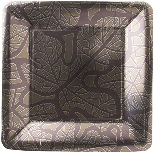 Madhouse by Michael Aram 8 Count Fine Paper Square Dinner Plates, Fig Leaf (Fancy Fig Catering)