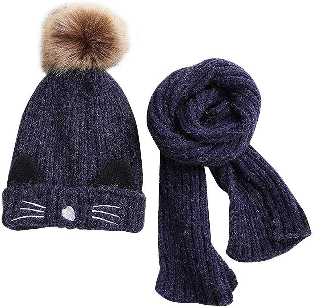 Simpatici Cappello con Pompon ACMEDE Cappello e Sciarpa Lavorati a Maglia per Bambini Invernali