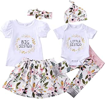 GRNSHTS Toddler Baby Girls Sister Matching Outfits Big Kids Little Big Sister Long Sleeve Top + Floral Pants Clothes Set