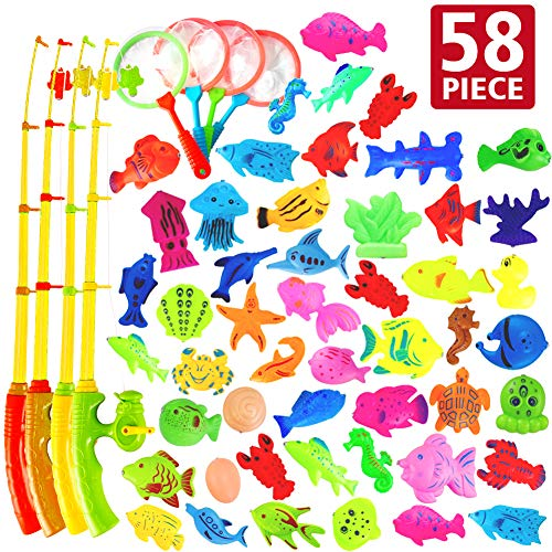 Carnival Fishing Game (AUUGUU 58 Pcs Magnetic Fishing Toys Game - 4 Poles, Nets & 50 Floating Fishes for Kids Bathtub Water Table Pool Party Floor, Best Gift for Toddler Age 3 4)