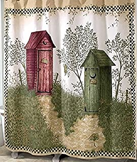 Shower Curtain Outhouses Retro Country Decor Fabric Polyester Waterproof Bathroom Wood House
