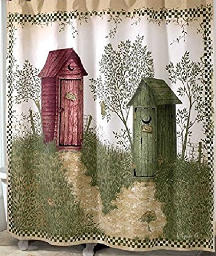 Bath Country Accessories Cats (Shower Curtain Outhouses, Retro Country Decor Fabric, Polyester Waterproof Bathroom Decor, Wood House 70 X 72 inch.)