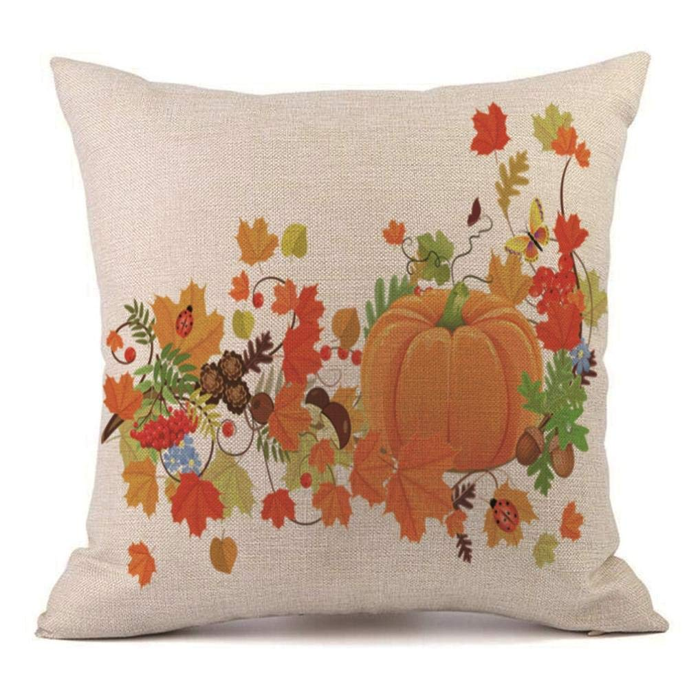 Pumpkin Throw Pillow Cover Halloween Cushion Case 18 x 18 inch (07)