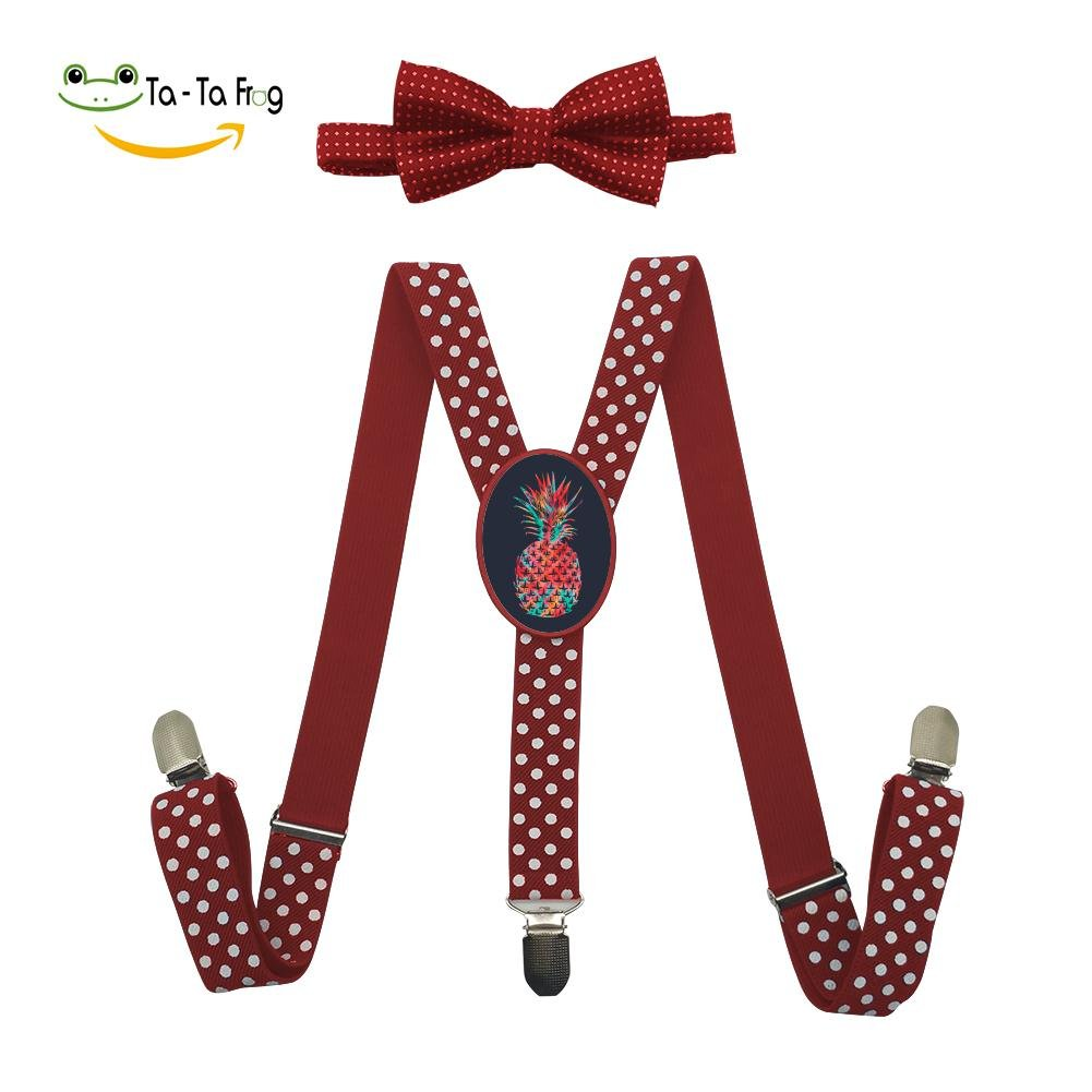 Grrry Unisxes Tie Dye Summer Pineapple Adjustable Y-Back Suspenders & Bowtie Set Red
