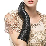 Nappaglo Women's Winter Long Leather Gloves Genuine Nappa Leather Touchscreen Ruched Elbow Party Mittens (M (Palm Girth:7.2