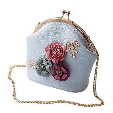 SODIAL Women Fashion Stereo Flowers Shoulder Bag Ladies Small Vintage Tote Bag  Purse Chain Handbag Messenger 944754774d256
