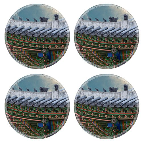 MSD Round Coasters Non-Slip Natural Rubber Desk Coasters design 34624426 The gable roof of Deoksugung palace Seoul South Korea