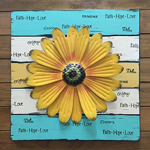 John Deere Garden Apron (Daisy FLOWER Wall Decor SIGN 16X16 - Reclaimed Pallet Wood Style Cream Antique White Teal Blue Yellow *Distressed Wooden sign for baby nursery garden porch *16