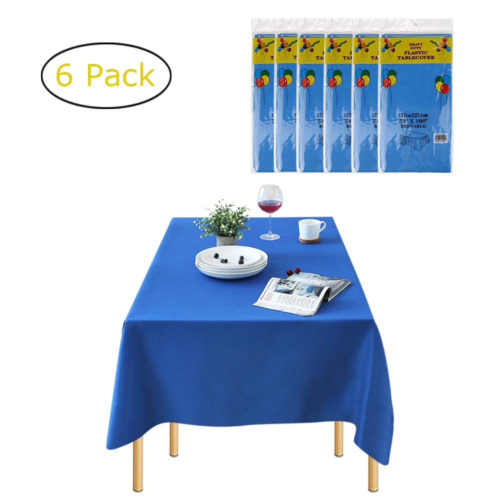 Plastic Tablecloths for Rectangle Tables - 6 Pack, Candywe Disposable Plastic Tablecloth 54 Inch. x 108 Inch. 6 to 8 Foot, Rectangle Plastic Table Cover for Parties Birthdays Weddings Picnics by Candywe