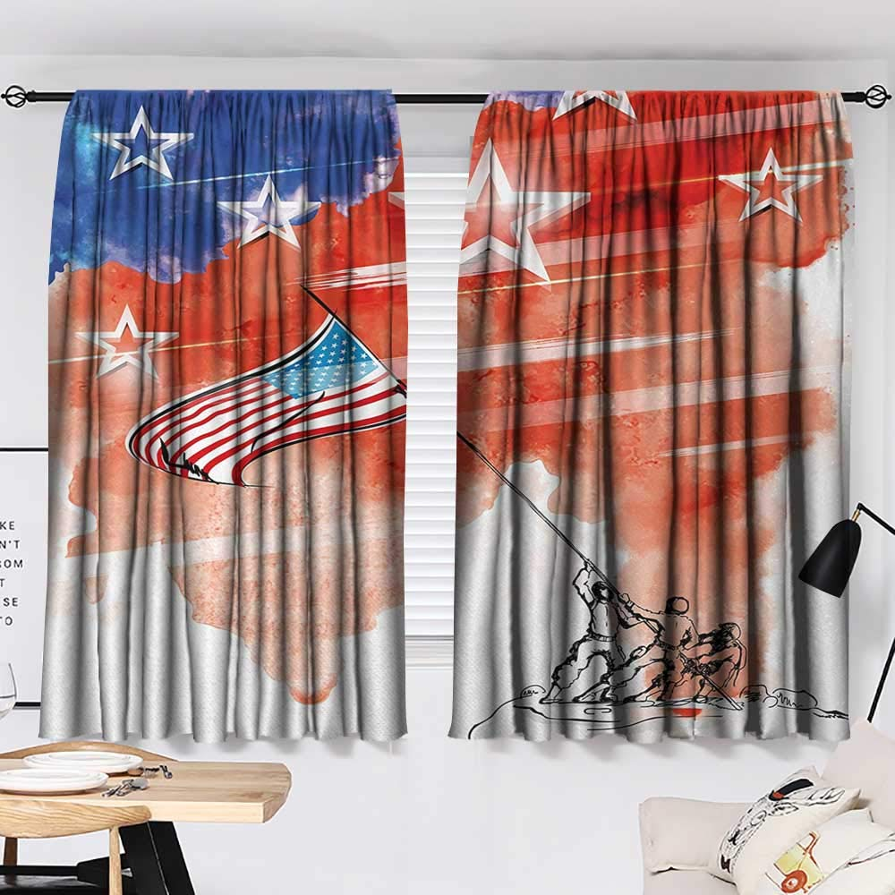 Jinguizi 4th of July Room/Bedroom, Watercolor Artwork of a Historical Scene Soldiers Planting The American Flag Pattern Darkening Curtains Multicolor W55 x L39 by Jinguizi (Image #2)