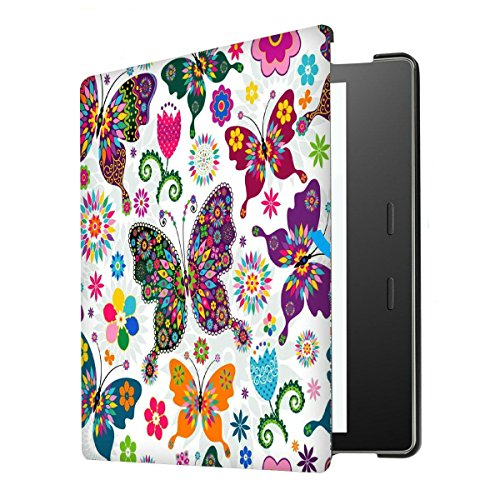 Kindle Oasis Case(9th Generation, 2017), iThrough Shell Smart Cover/7 Inches, Lightweight Slim Thin Folio Protective Case with Auto Wake/Sleep For Amazon All-New Kindle Oasis eBook(Butterfly) by iThrough