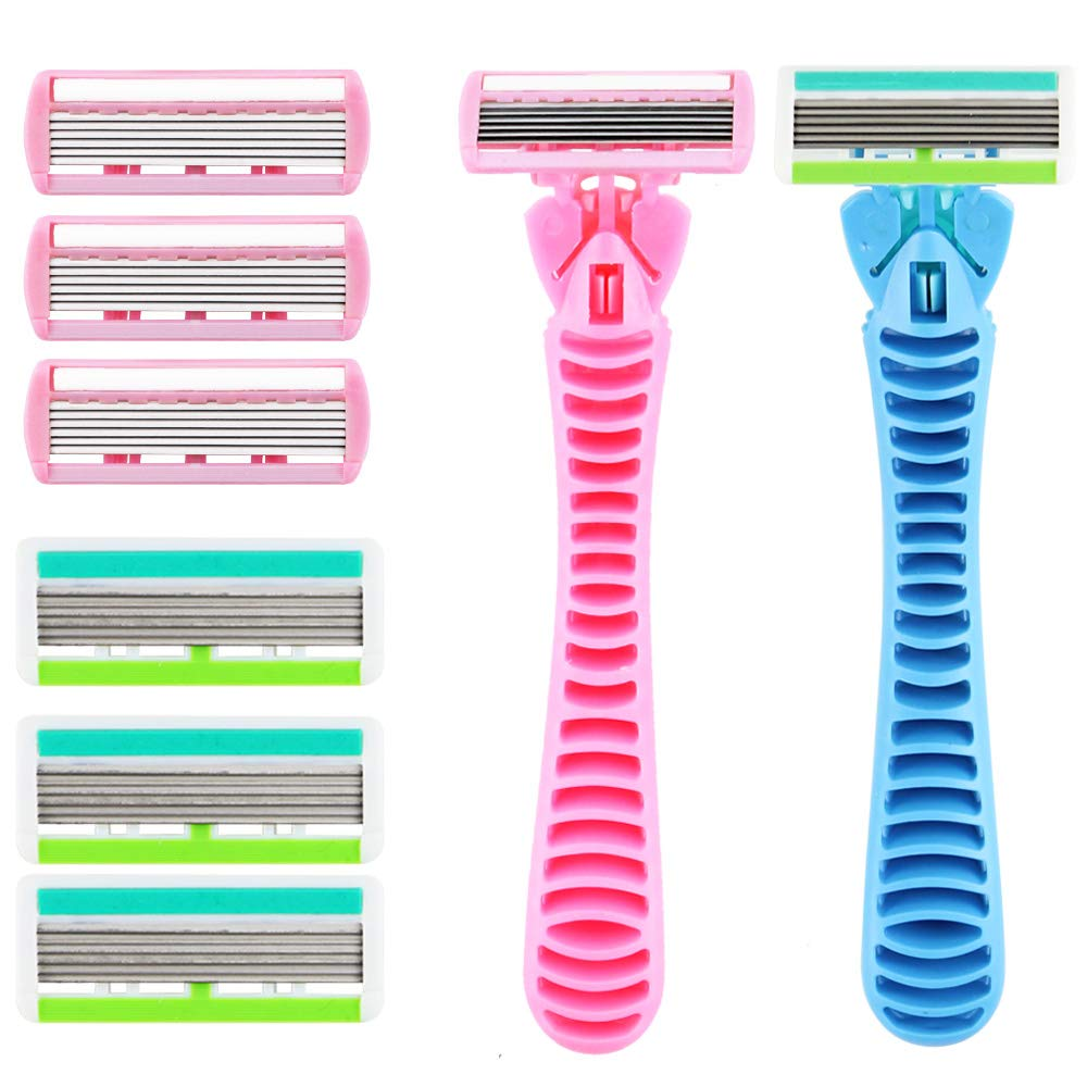 Wpxmer 2 Pack Women's 6-Blade Disposable Shaving Razors With 6 Replacement Heads