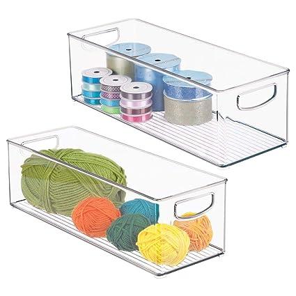 Amazon Com Mdesign Stackable Plastic Storage Organizer Bin With