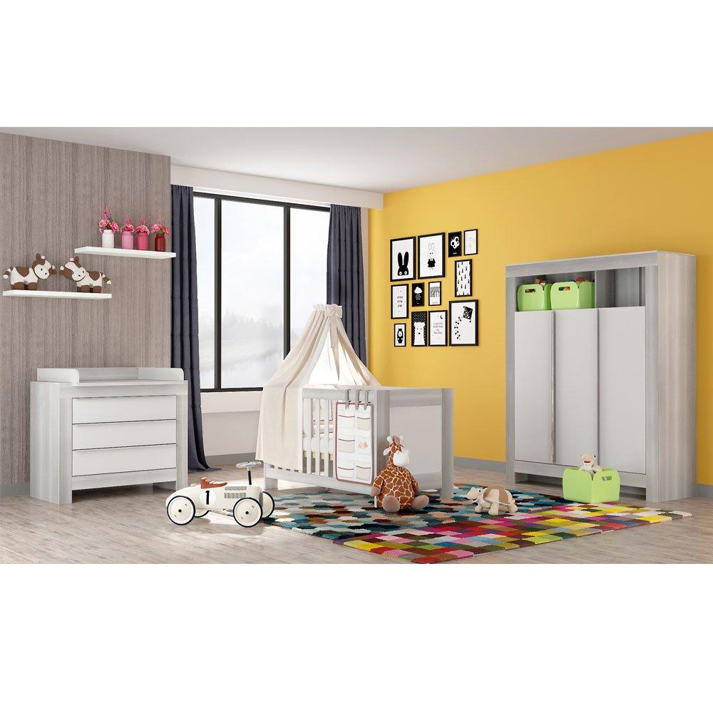 Babyzimmer Felix mit 3 türigem Kleiderschrank in der Trendfarbe akaziengrau
