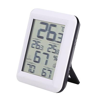 Medidor de Humedad de Temperatura LCD Digital, Reloj Digital LCD con Soporte, Termómetro Higrómetro