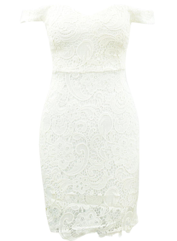Azbro Fashion Off The Shoulder Floral Lace Body-con Dress