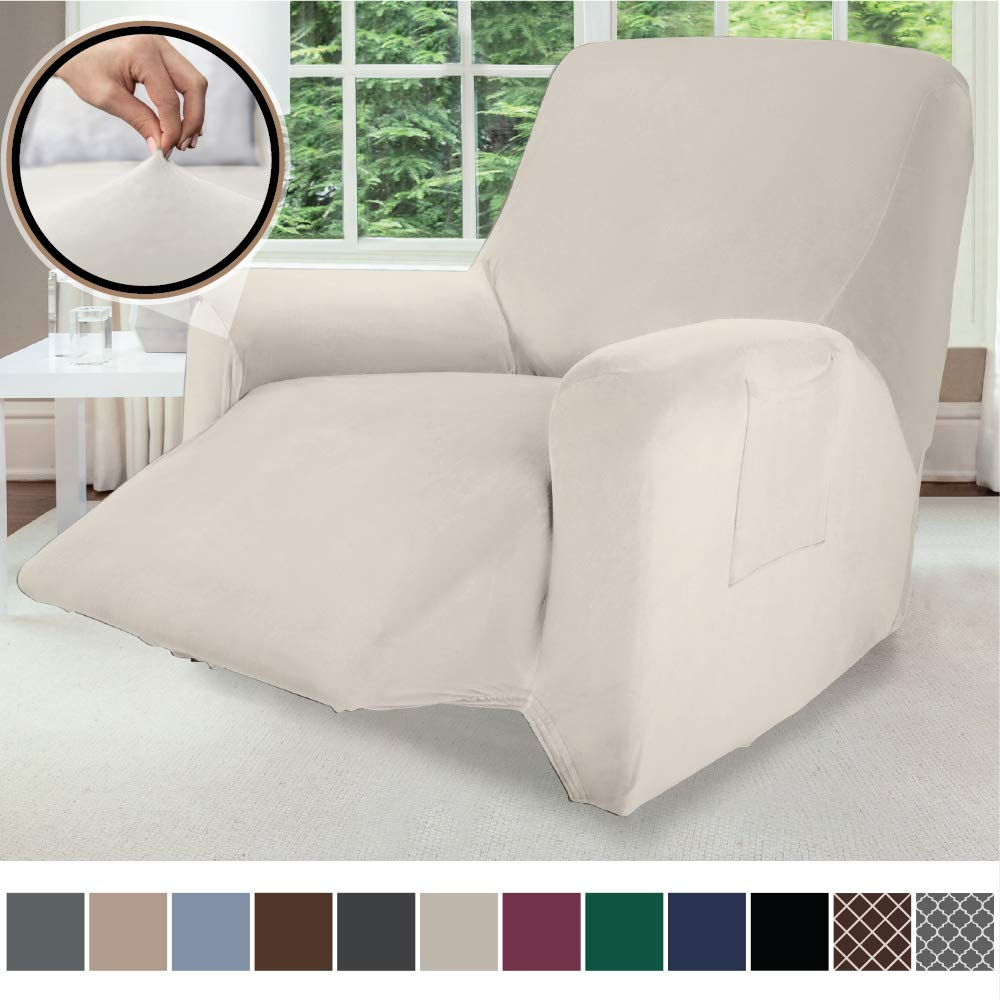 Gorilla Grip Original Velvet Fitted 1 Piece Recliner Slipcover, Stretch Up to 28 Inches, Velvety Covers, Luxurious Chair Slip Cover, Spandex Recliners Furniture Protector, with Fasteners, Soft Linen