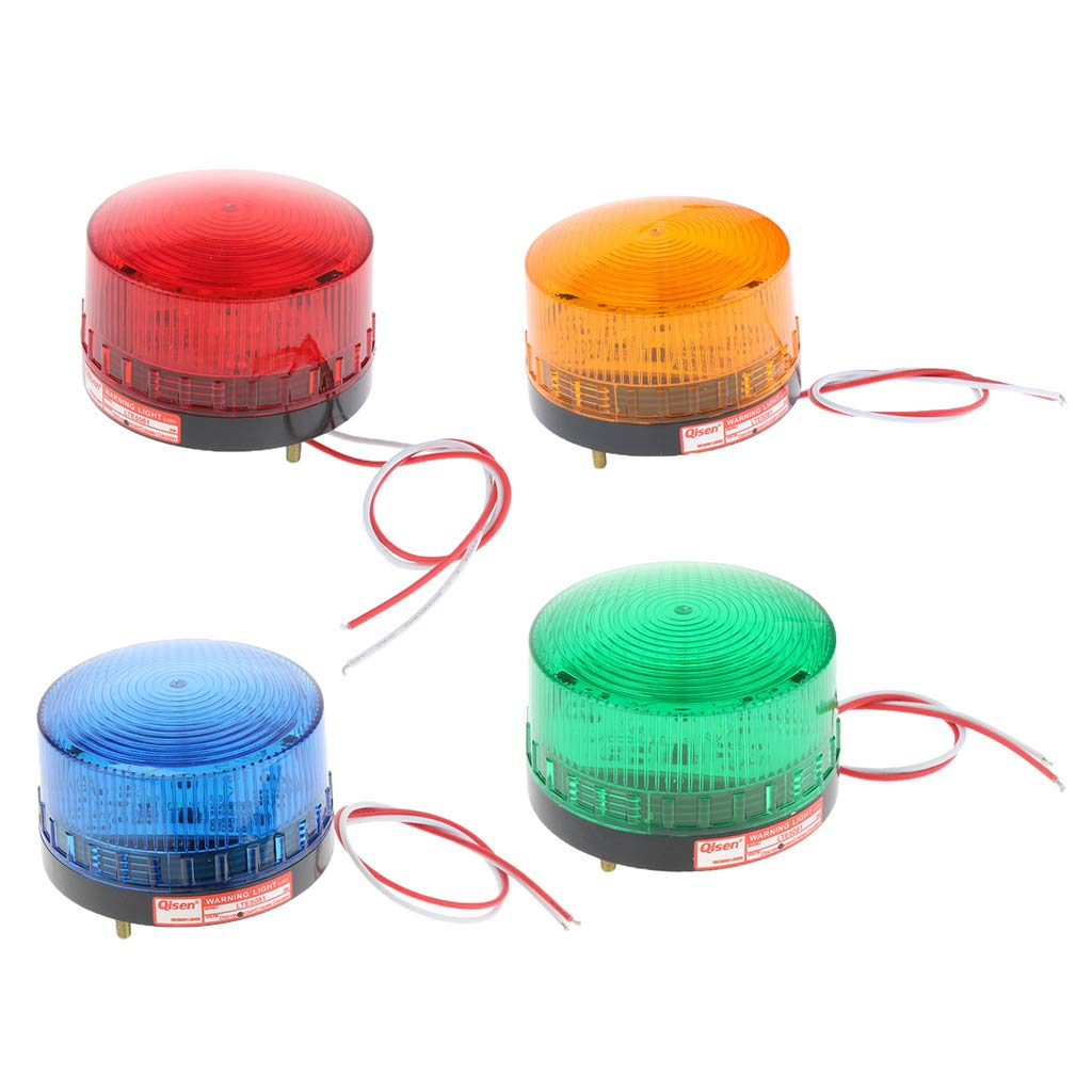SM SunniMix 4 Pieces/Set 24V Always-On Warning Beacon Lights, Red Yellow Green Blue