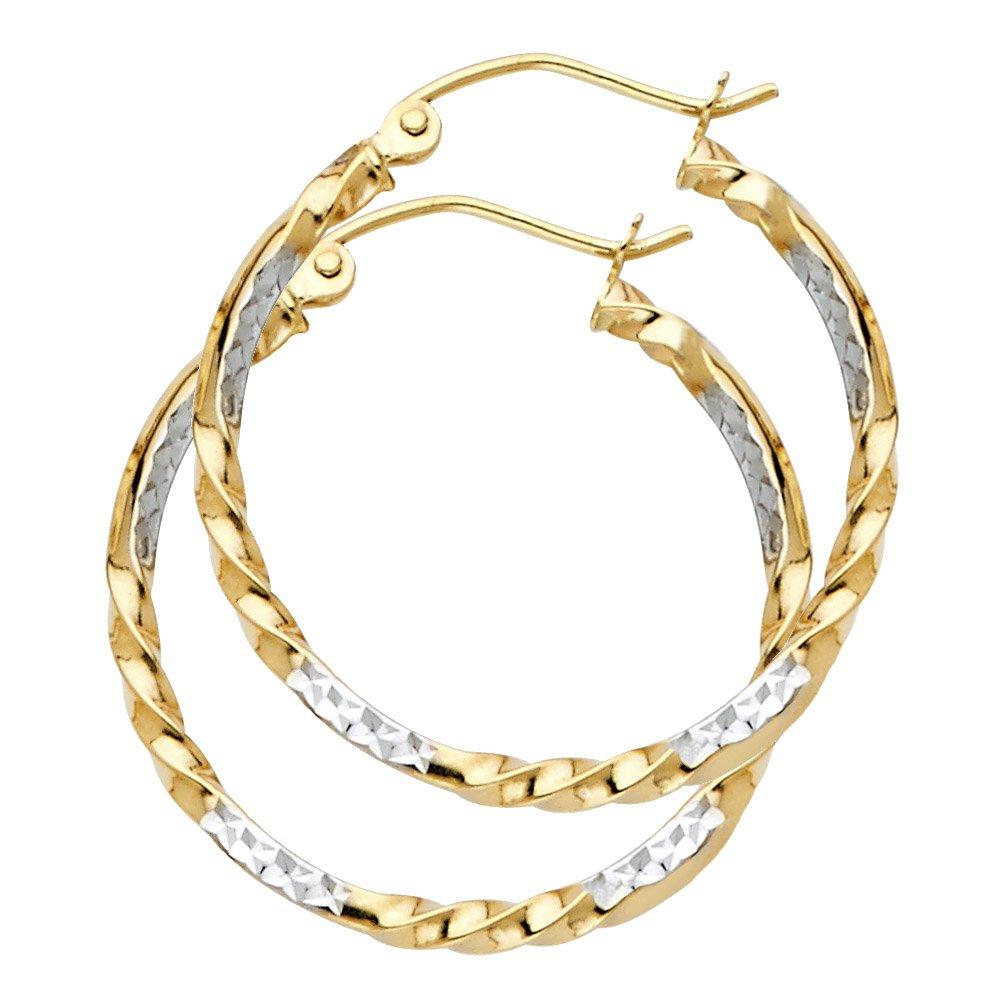 Wellingsale Ladies 14k Two Tone White and Yellow Gold Diamond Cut Polished 2mm Fancy Twisted Hoop Earrings (25mm Diameter)