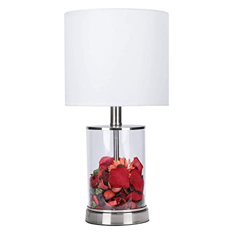 Co Z Cylinder Fillable Table Lamp With Clear Glass And Steel Base