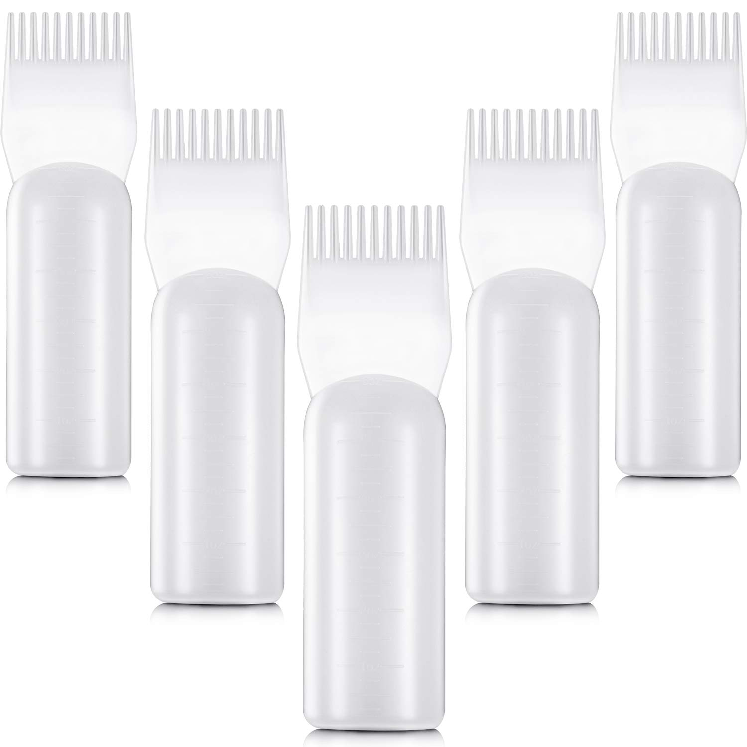 5 Pieces Root Comb Applicator Bottles Hair Dyeing Bottles with Graduated Scale for Salon Home Supplies by Boao