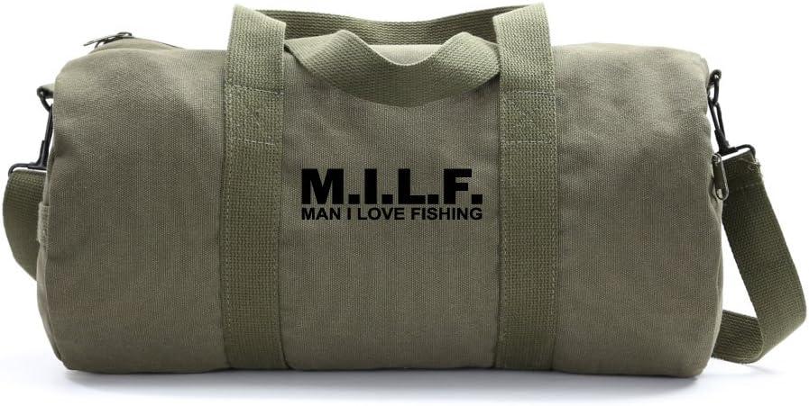 Medium MILF man I love fishing Text Army Sport Heavyweight Canvas Duffel Bag in Olive /& White