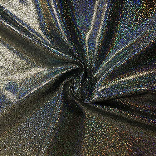 Pine Crest Fabrics Sparkly Jewels Hologram Dancewear Knit Silver/Black Fabric by The Yard