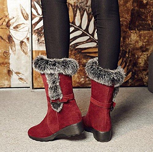 KUKI Damenschuhe, Damenstiefel, Schneestiefel, verdickt, warm, Stiefel, rutschfest, mit der Ferse, lässig, Mode, wild red