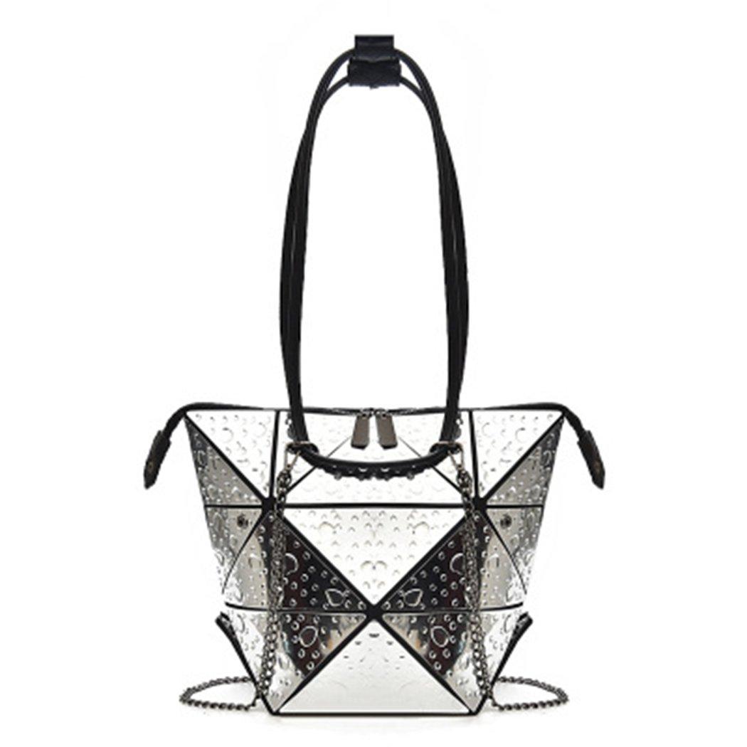 JIANFCR Beiläufige Einkaufstasche der Frauen Lingge KettenTaschen-Handtaschen-Geometrie-Reihen-Faltbare Gebrauch-Schulter-Taschen, Temperament-Arbeits-Tasche 6 Farben Optional
