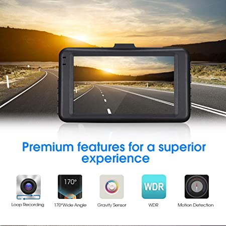 Zinc Alloy Shell Dash Cam Dashboard Camera Recorder- 3 Full HD 1080P Car DVR Night Vision Camera Recorder for Cars with G-Sensor Motion Detection,WDR, Loop Recording TF Card Not Included