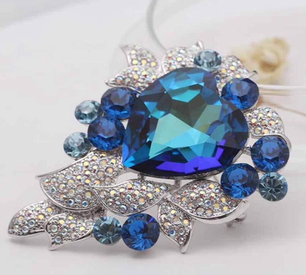 Sxuefang Brooch Blue Artificial Crystal Ocean Heart Needle Womens Jewelry Brooch