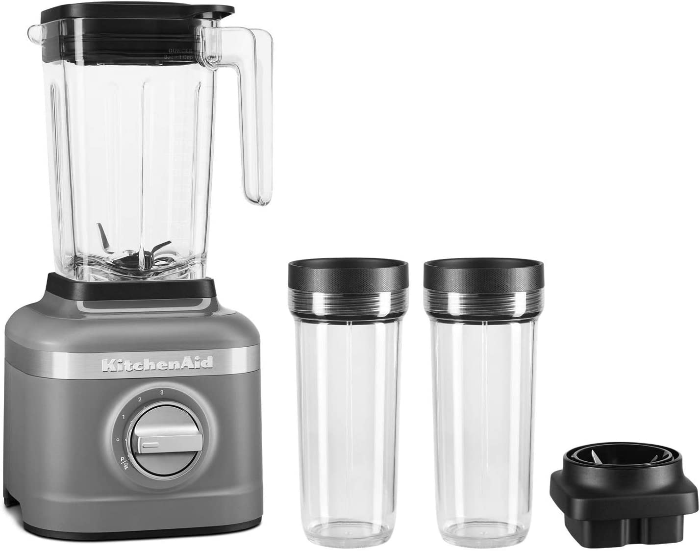 KitchenAid KSB1332DG 48oz, 3 Speed Ice Crushing Blender with 2 x 16oz Personal Jars to Blend and Go, Matte Charcoal Grey