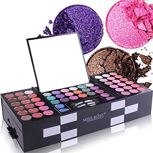 RoseFlower Pro 144 Colors Shimmer and Matte Eyeshadow All In One Makeup Kit Cosmetic Contouring Palette With Blusher and Eyebrow Powder