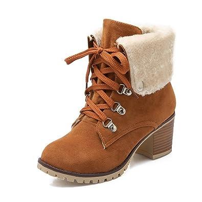 AgooLar Damen Hoher Absatz Blend-Materialien Niedrig-Spitze Rein Schnüren Stiefel, Braun, 34