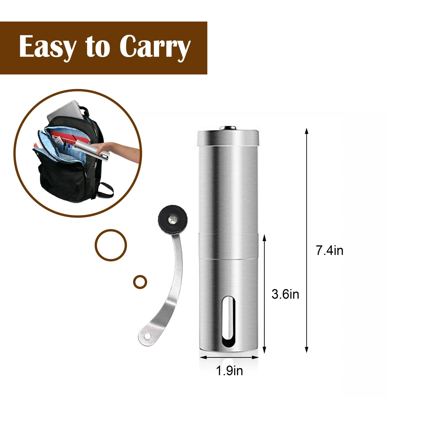 Coffee Grinder, Aessdcan Manual Coffee Mill, Mini Portable Home Kitchen Travel Stainless Steel Coffee Bean Grinder with Adjustable Ceramic Core by Aessdcan (Image #5)