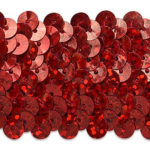 Expo International 1-1/2-Inch 4-Row Starlight Hologram Stretch Sequin Trim Embellishment, 10-Yard, Red