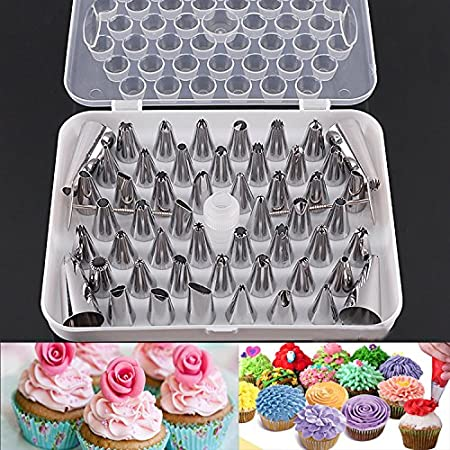 Kurtzy Stainless Steel Cake Icing Nozzles For Decorating Cupcake Pastries Desserts Tarts Pie Set Of 52 Assorted Baking Tools & Accessories at amazon